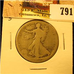 1917 Obverse S U.S. Walking Liberty Half Dollar, AG.