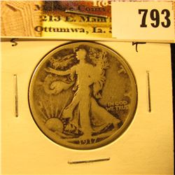 1917 Reverse S U.S. Walking Liberty Half Dollar, Good.