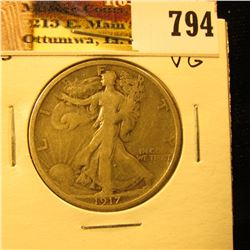 1917 Reverse S U.S. Walking Liberty Half Dollar, Very Good.