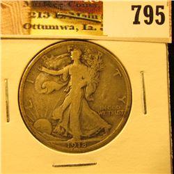 1918 P U.S. Walking Liberty Half Dollar, VG.
