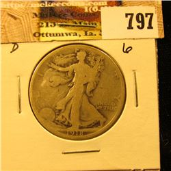 1918 D U.S. Walking Liberty Half Dollar, G+.