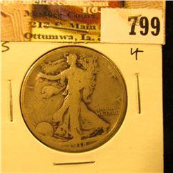 1918 S U.S. Walking Liberty Half Dollar, Good.