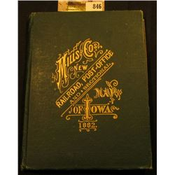 """Mills and Cos. New Railroad, Post-Office and Sectional Map of Iowa 1882"", hardbound with gold lette"