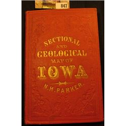 "1857 hardbound ""Sectional and Geological Map of Iowa N.H. Parker"", 'Doc' valued this in his collecti"