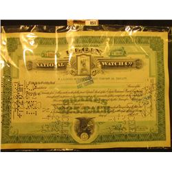 "1927 Hole cancelled Stock Certificate for 50 Shares ""Elgin National Watch Co."""