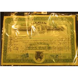 "1927 Hole cancelled Stock Certificate for 100 Shares ""Elgin National Watch Co."""