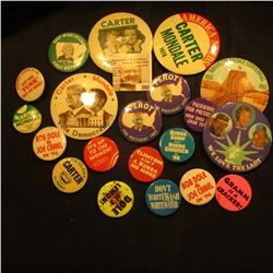 Group of (20) Different Old Pin-backs.  Most are Political.