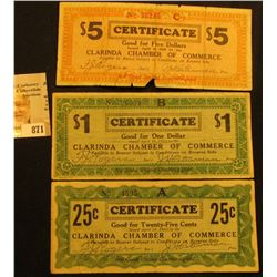 April 10th, 1933 Clarinda, Iowa Depression Scrip Three-piece Set.  MS #:  IA220-.25A, 1, &  5A. Each