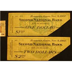 "Pair of Right lower Corner cut cancel ""Hamilton, Ohio Nov.9, 1907 Second National Bank Hamilton, Ohi"