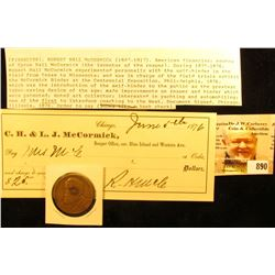 1876 Check from C.H. & L.J. McCormick with original signature & 1831-1931 Centennial of The Reaper C