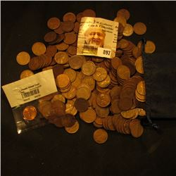 World Reserve Monetary Exchange  Felt Bag containing (350) Old Wheat Back Cents;