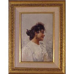 "19th Century School, SMILING WOMAN, oil painting on board, 8 1/4 x 5 3/4"", framed. Starting bid..."