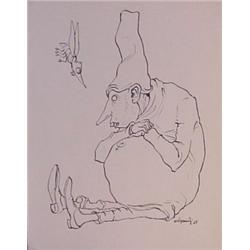 Lorenzo Alessandri (b. 1927) Italian Surrealist, SEATED FOOL, 1965, ink drawing on stiff wove p...