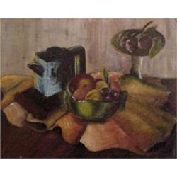 American School (20th Century), STILL LIFE WITH FRUIT & TEA POT, oil painting on canvas board,...