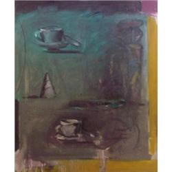 """American School (20th Century), STILL LIFE WITH TEA CUPS, oil painting on canvas, 35 x 30 1/2"""",..."""