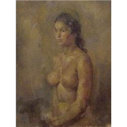 """American School (20th Century), NUDE, oil painting on canvas, 24 x 18"""", signed lower right, fra..."""