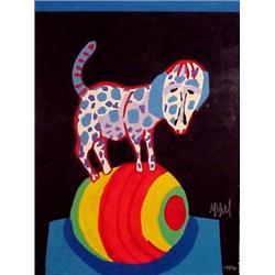 Karel Appel (b. 1921) Dutch, CIRCUS SUITE #28 (Dog on Ball), color carborumdum gravure, signed...