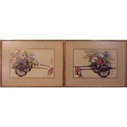 """Asian School (20th Century) (two), FLOWERS CARTS, a pair of watercolors on paper, each 10 x 15""""..."""