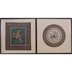 Asian Decorative Arts (two), A pair of silk embroidery, brightly colored, finely detailed, with...