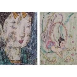 Asian School (20th Century) (two), PORTRAIT OF A WOMAN; WOMAN WITH RING, two, each a crayon pas...