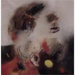 """Edmondo Bacci (b. 1913) Italian, AUVENIMENTO #357, oil painting on canvas, 35 1/2 x 35 1/2"""", si..."""