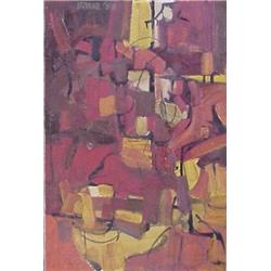 """Bakke (20th Century, SOUNDS OF THE CITY, 1958, oil painting on board, 24 x 16"""", signed and date..."""