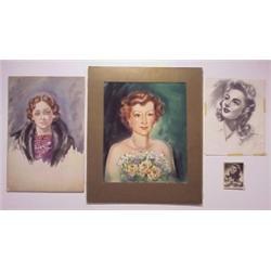 "Ken Barker (20th Century) American (four), INGRID BERGMAN, charcoal drawing on paper, 12 x 10"",..."