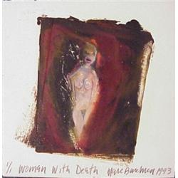 Marc Baseman (20th Century) American, WOMAN WITH DEATH, 1993, original color monotype with acry...