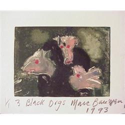 Marc Baseman (20th Century) American, THREE BLACK DOGS, 1993, original color monotype, signed i...
