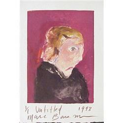 Marc Baseman (20th Century) American, WOMAN, 1993, original color monotype with acrylic paintin...