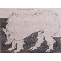 Leonard Baskin (1922-2002) American, PIG, etching, signed in pencil, from the numbered edition...