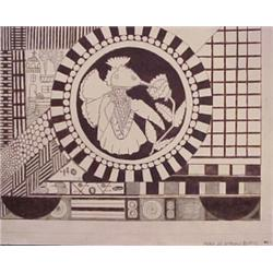 """Anthony Veit Belfils (20th Century) American, UNTITLED, ink drawing on paper, 15 1/4 x 20"""", sig..."""
