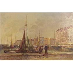 "Belgium School (19th/20th Century), HARBOR SCENE, oil painting on canvas, 24 x 36"", signed lowe..."