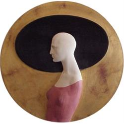 """Ben (20th Century) American, WOMAN WITH HAT, acrylic painted wood sculpture, 23"""" diameter, sign..."""