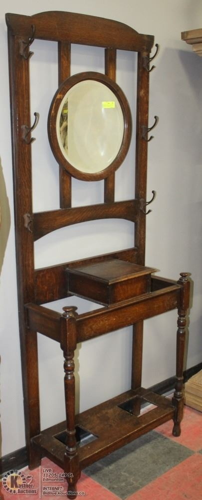 Antique Oak Hall Stand With Mirror And Umbrella
