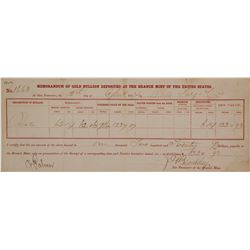 San Francisco Mint Gold Bullion Memorandum, 1864