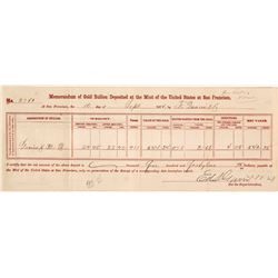San Francisco Mint Gold Bullion Deposit Memorandum, 1874
