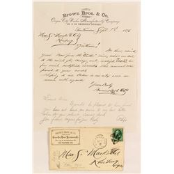 Brown Bros. & Co. Cover & Letter Re: Oregon Gold Bar Deposited at SF Mint
