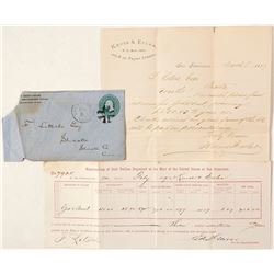Three Historic Ephemera Pieces: Corner cover advertising with Letterhead and US Mint Assay Receipt