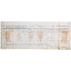 Dahlonega Mint Assay Memorandum, 1857