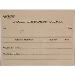 Rare Bullion & Exchange Bank Gold Deposit Card (Carson City Mint?)