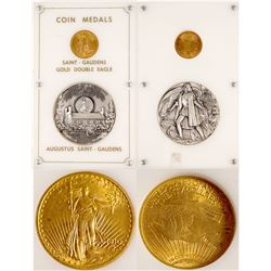 St. Gaudens  $20 Gold Piece and Silver Medal
