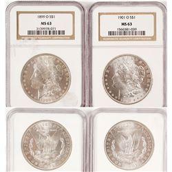 Two Certified Morgan Dollars