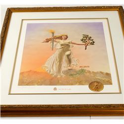 "Framed  ""MCMVII Lady"" Lithograph"