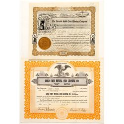 Gold Coin Mining Stock Certificates