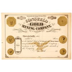 Unissued Consuelo Gold Mining Company of California Stock Certificate
