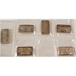 Six Small Carson Mint Silver Ingots