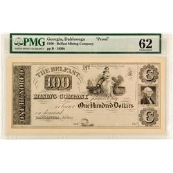 Belfast Mining Company Proof $100 Note