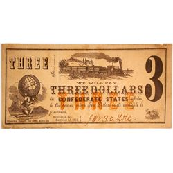 Little's Store $3 Note Payable in Confederate States Notes