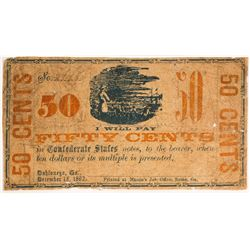 Confederate 50 Cent Note Unknown Issuer